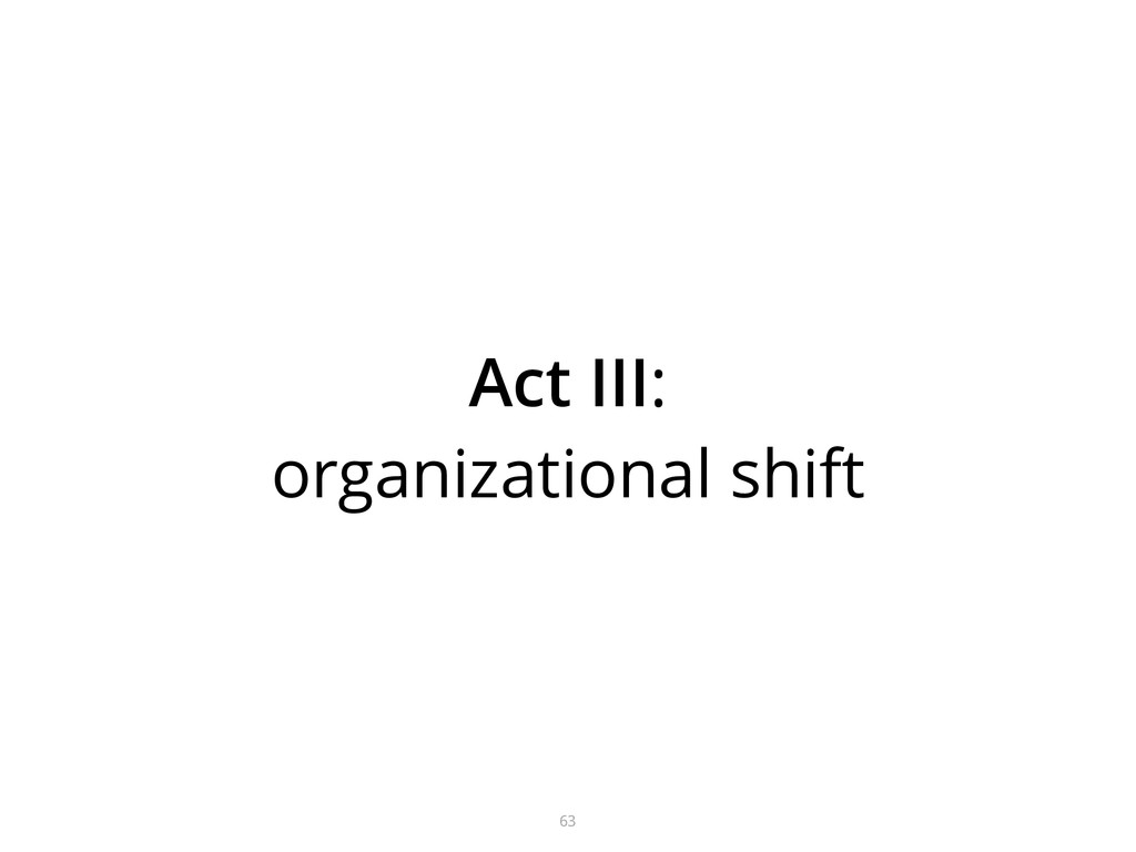 63 Act III: organizational shift