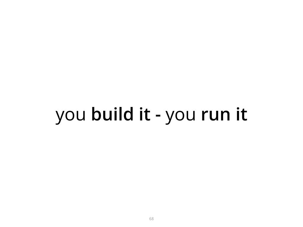 you build it - you run it 68