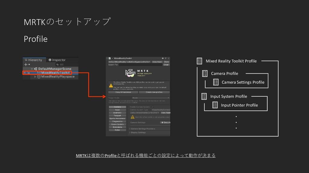 MRTKのセットアップ Profile Mixed Reality Toolkit Profi...