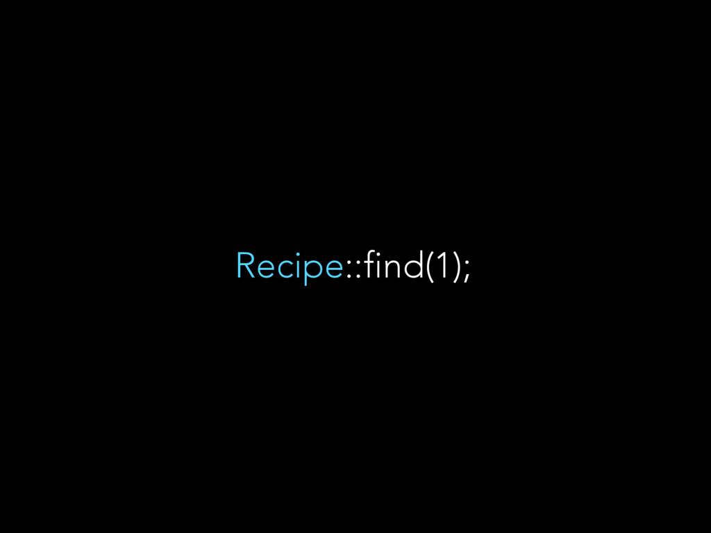 Recipe::find(1);