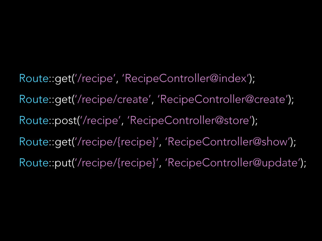 Route::get('/recipe', 'RecipeController@index')...