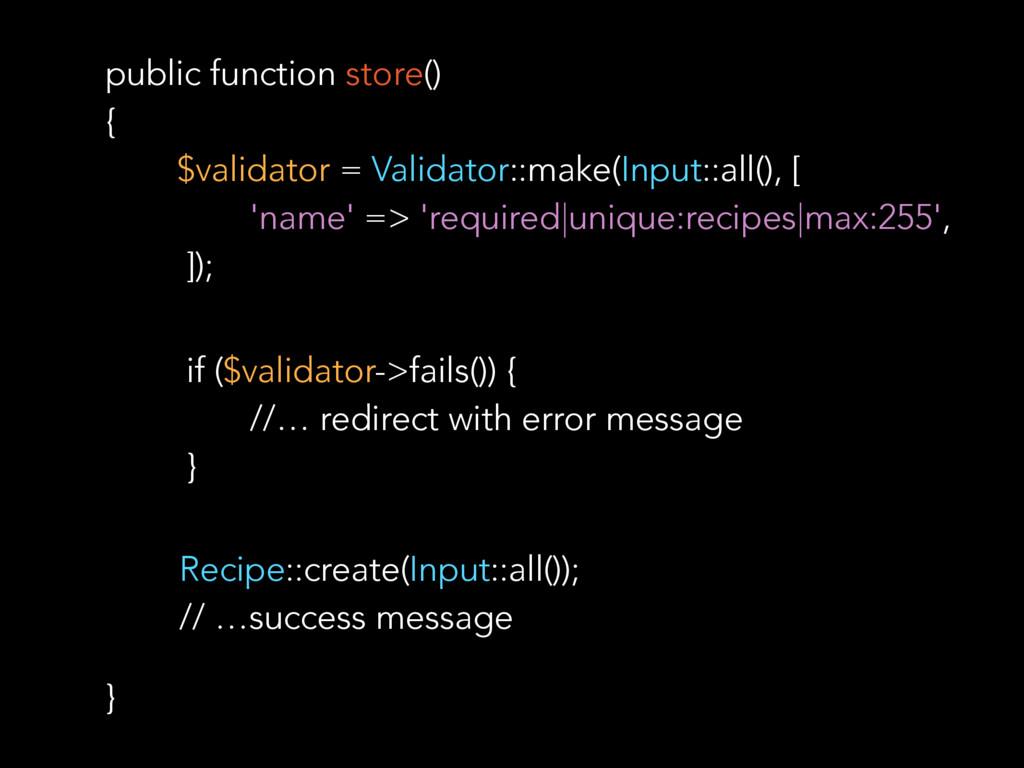 public function store() { $validator = Validato...