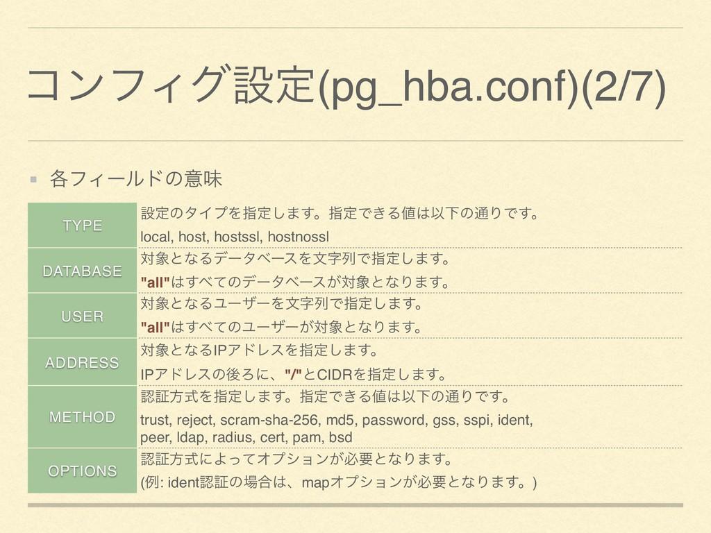 ίϯϑΟάઃఆ(pg_hba.conf)(2/7) ֤ϑΟʔϧυͷҙຯ TYPE ઃఆͷλΠϓ...