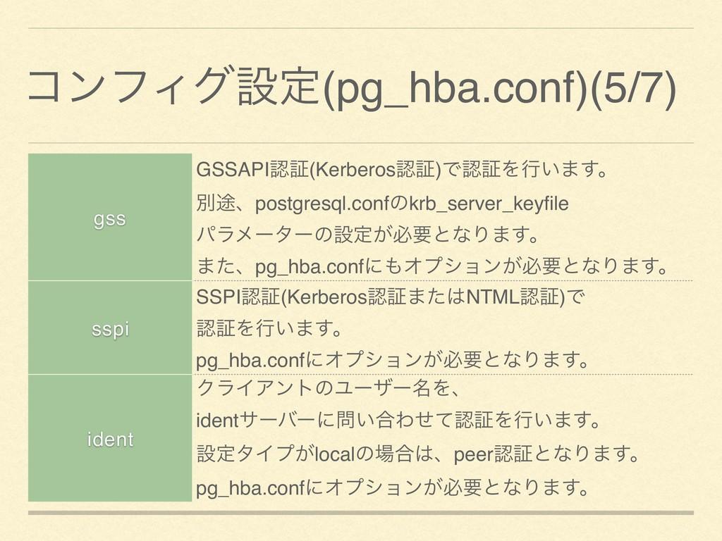 ίϯϑΟάઃఆ(pg_hba.conf)(5/7) gss GSSAPIূ(Kerberos...