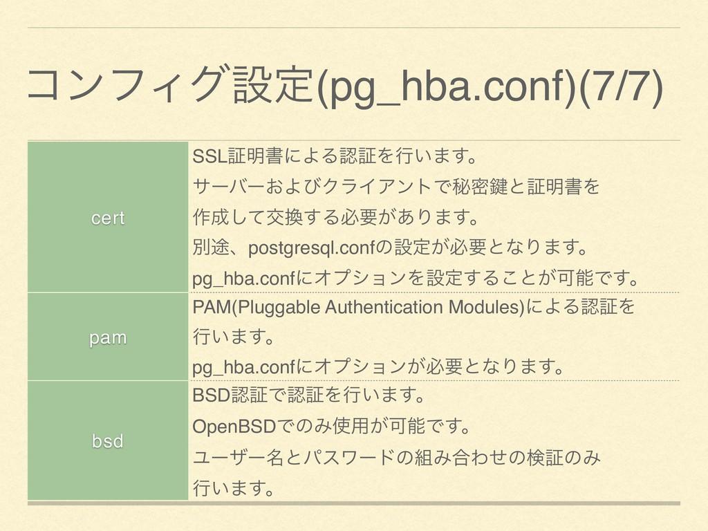 ίϯϑΟάઃఆ(pg_hba.conf)(7/7) cert SSLূ໌ॻʹΑΔূΛߦ͍·͢...