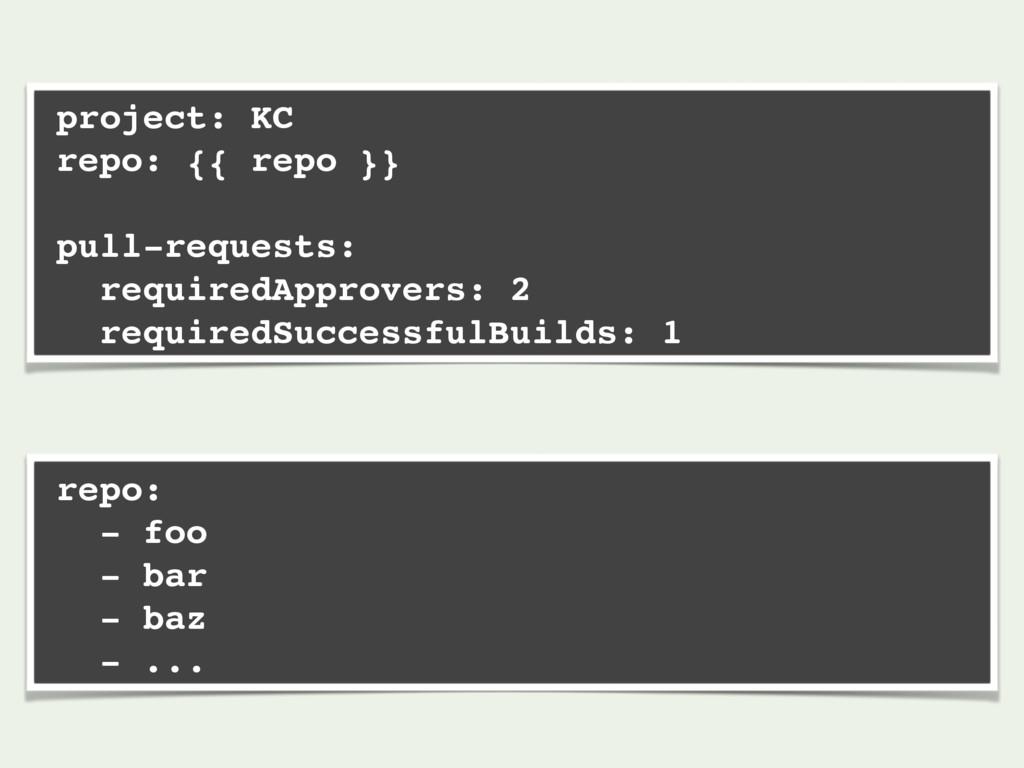 project: KC repo: {{ repo }} pull-requests: req...