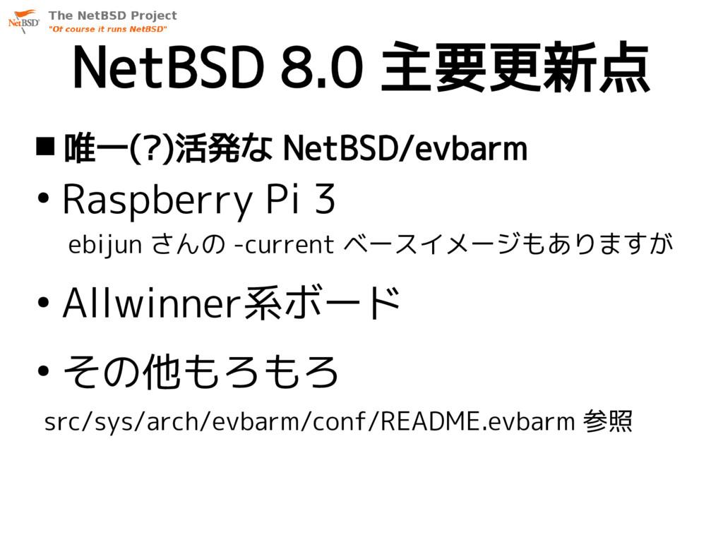 NetBSD 8.0 主要更新点  唯一(?)活発な NetBSD/evbarm ● Ras...