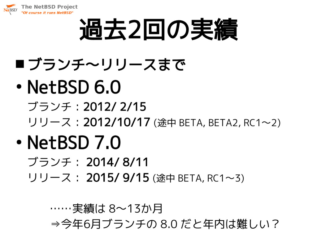 過去2回の実績  ブランチ〜リリースまで ● NetBSD 6.0 ブランチ:2012/ 2...