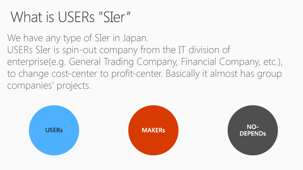 We have any type of SIer in Japan. USERs SIer i...