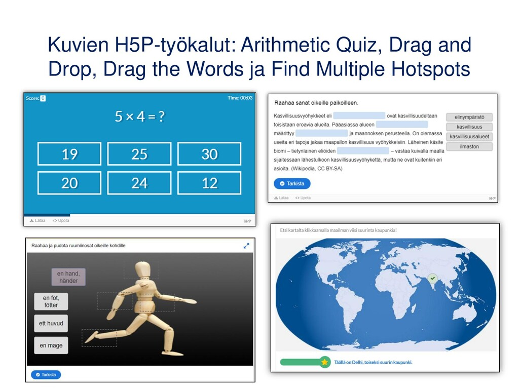 Kuvien H5P-työkalut: Arithmetic Quiz, Drag and ...