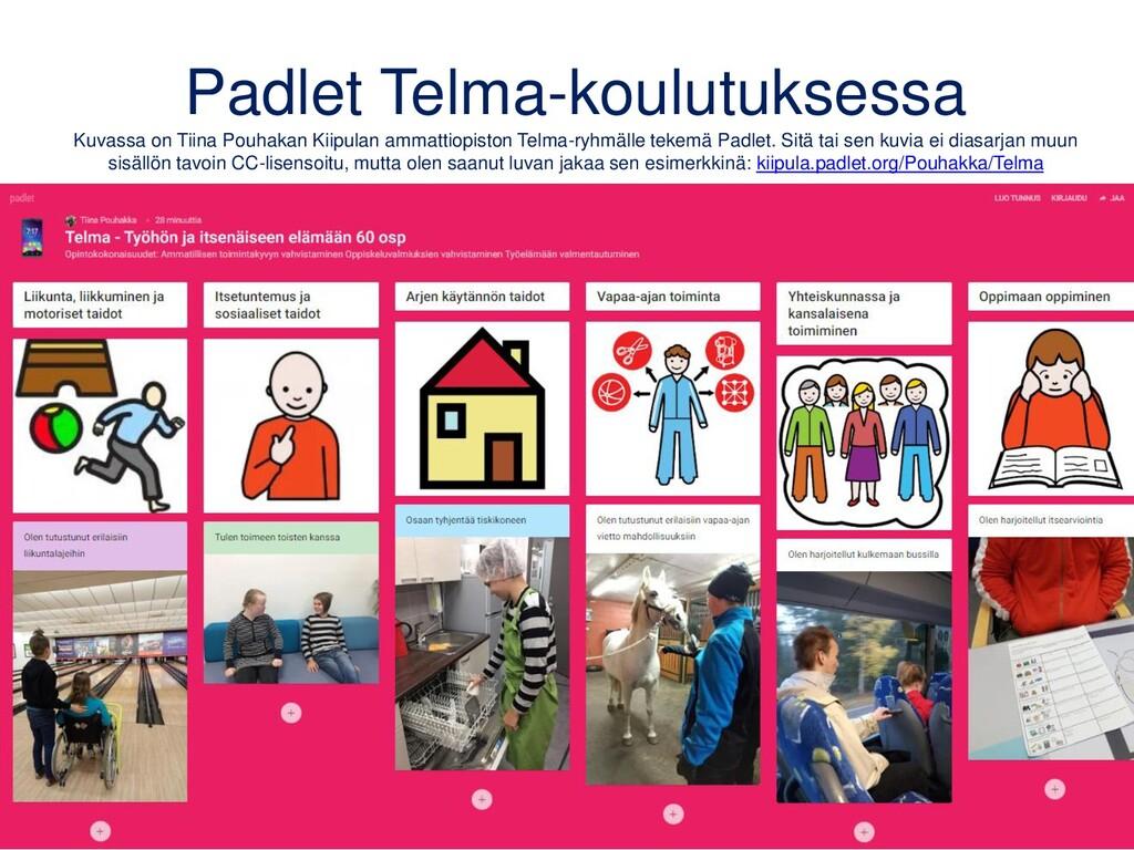 Padlet Telma-koulutuksessa Kuvassa on Tiina Pou...