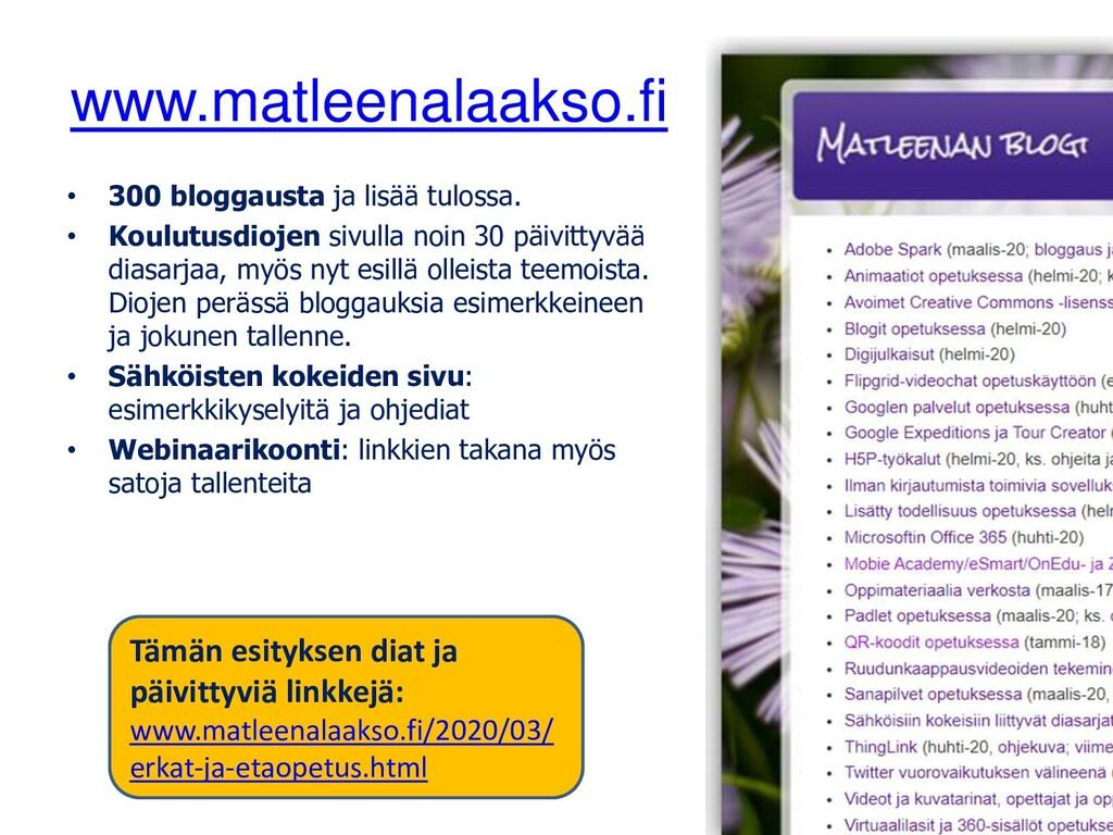 www.matleenalaakso.fi • 300 bloggausta ja lisää...