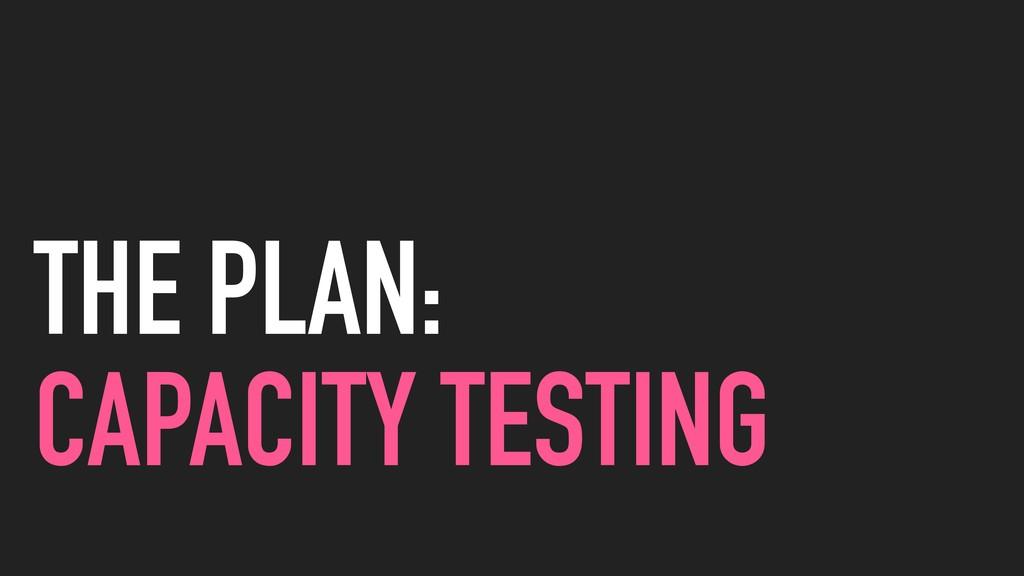 THE PLAN: CAPACITY TESTING