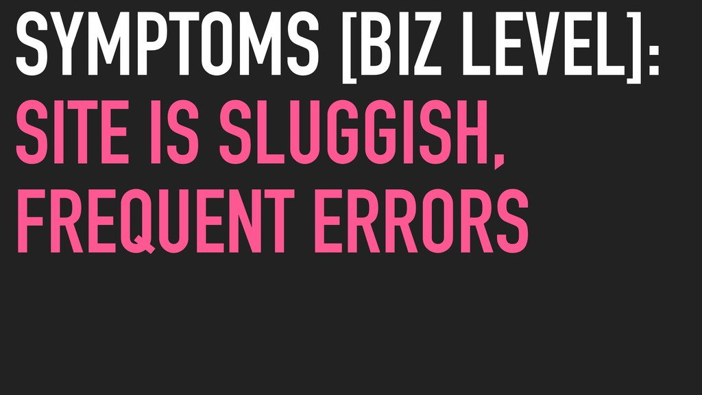 SYMPTOMS [BIZ LEVEL]: SITE IS SLUGGISH, FREQUEN...