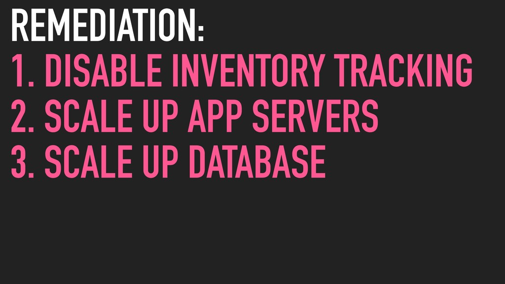 REMEDIATION: 1. DISABLE INVENTORY TRACKING 2. S...