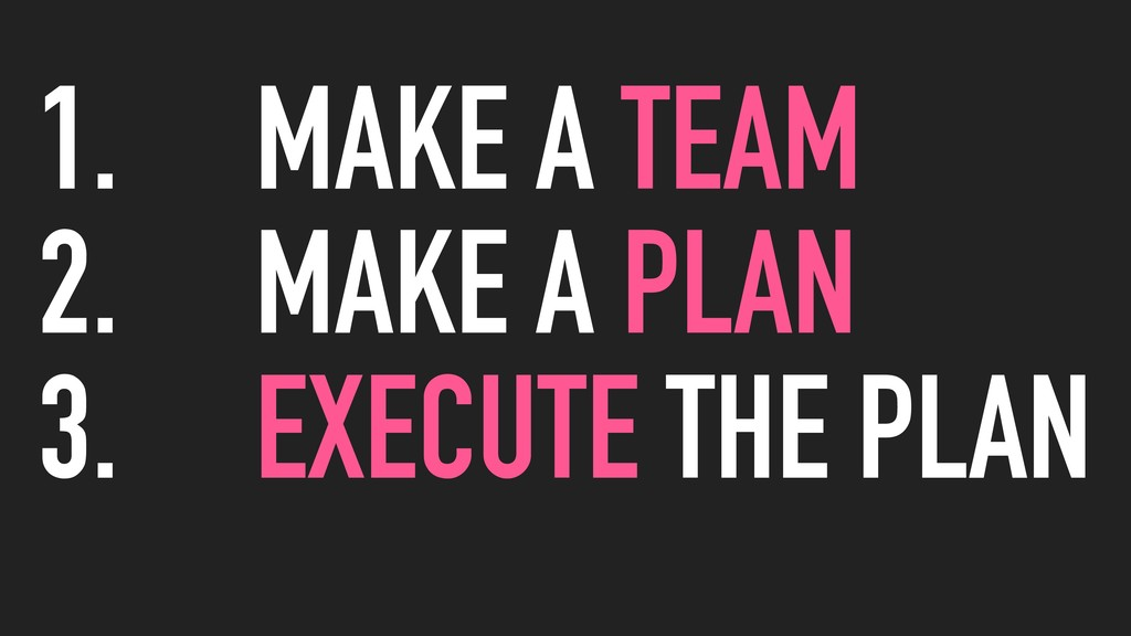 1. MAKE A TEAM 2. MAKE A PLAN 3. EXECUTE THE PL...