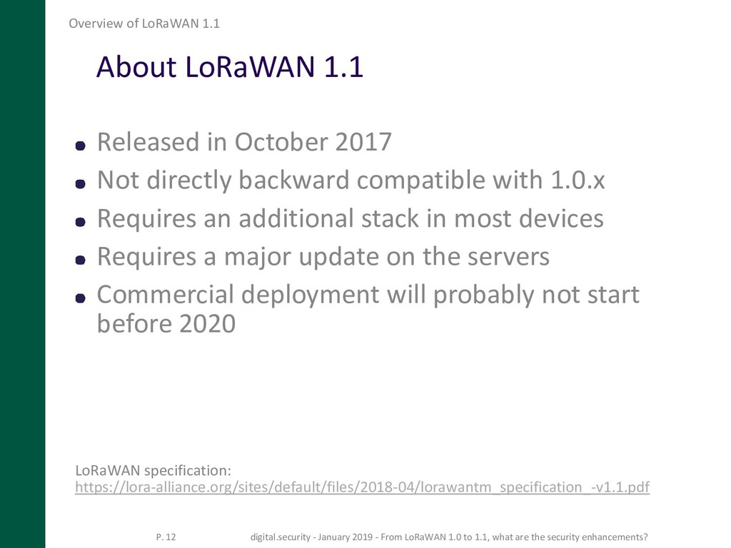About LoRaWAN 1.1 Released in October 2017 Not ...