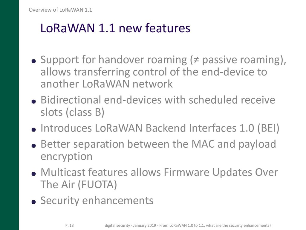 LoRaWAN 1.1 new features Support for handover r...
