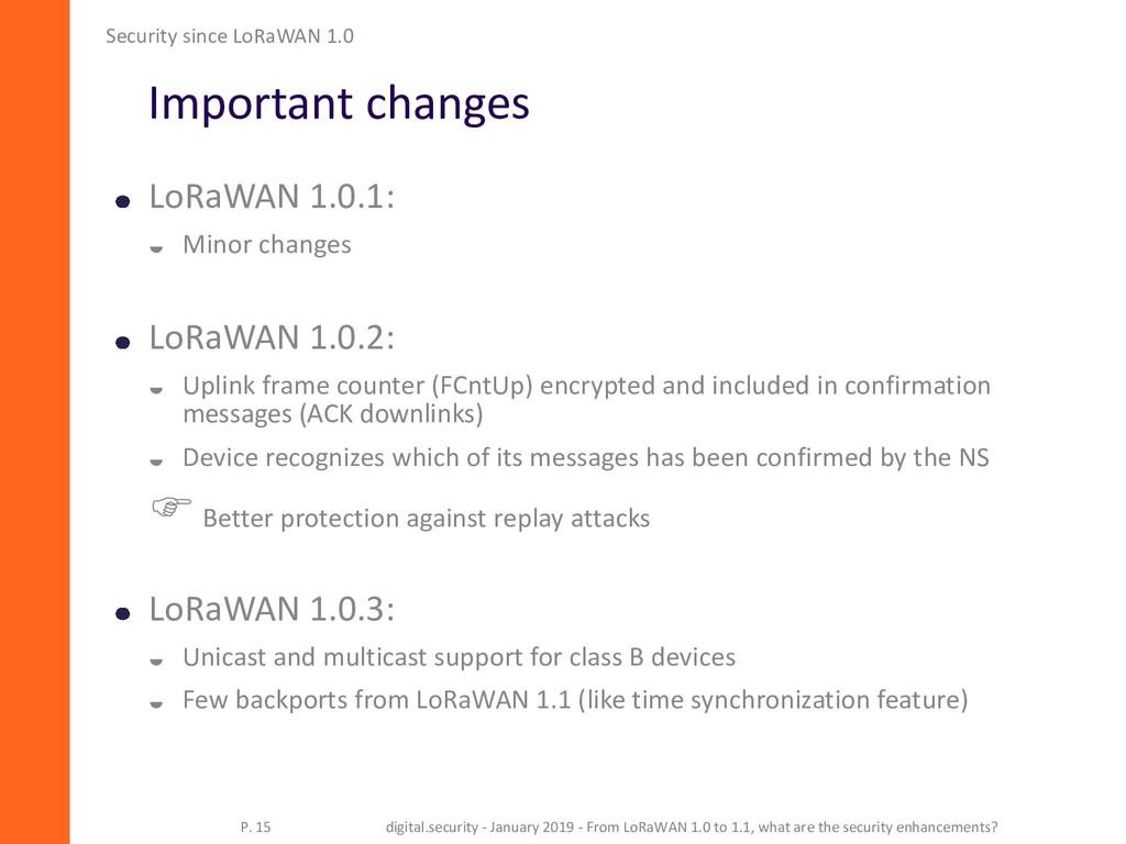 Important changes LoRaWAN 1.0.1:  Minor change...