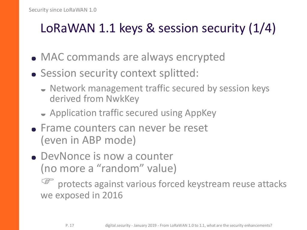 LoRaWAN 1.1 keys & session security (1/4) Secur...