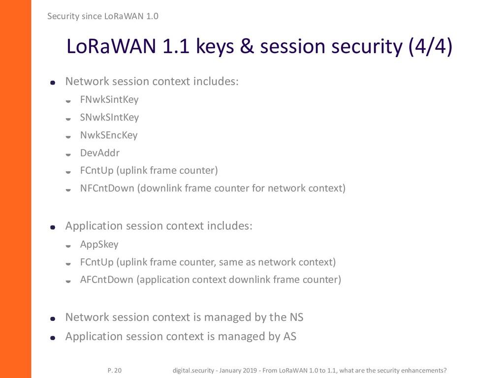 LoRaWAN 1.1 keys & session security (4/4) Secur...