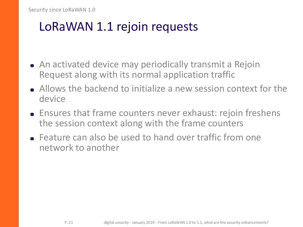LoRaWAN 1.1 rejoin requests Security since LoRa...