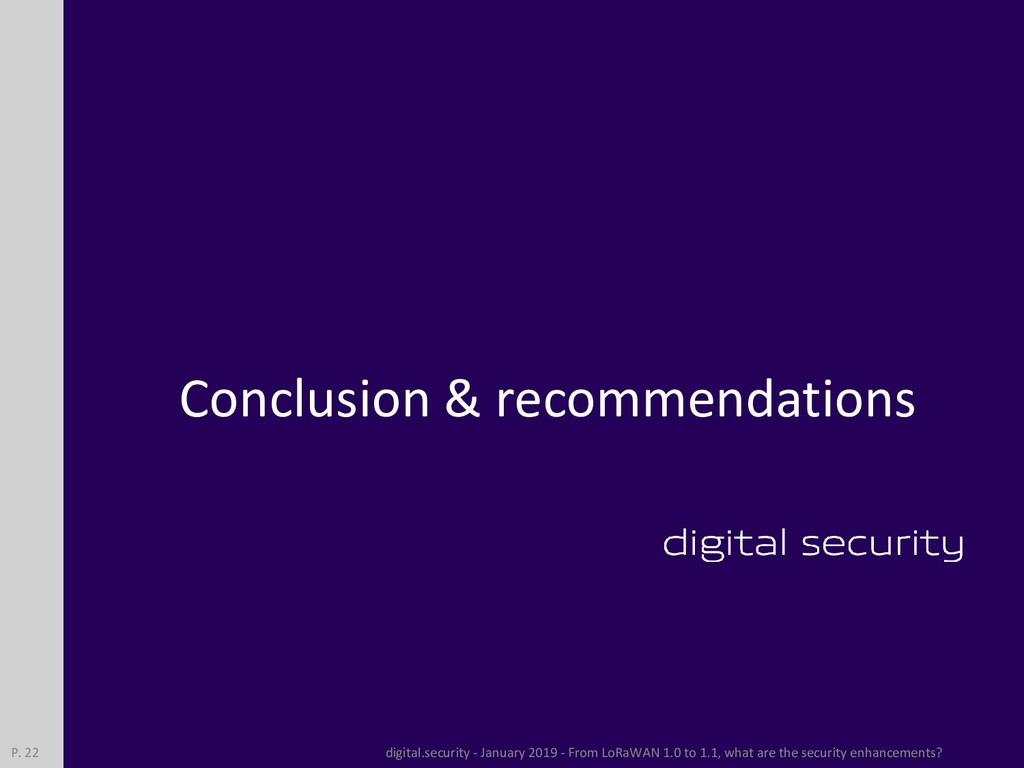 Conclusion & recommendations digital.security -...