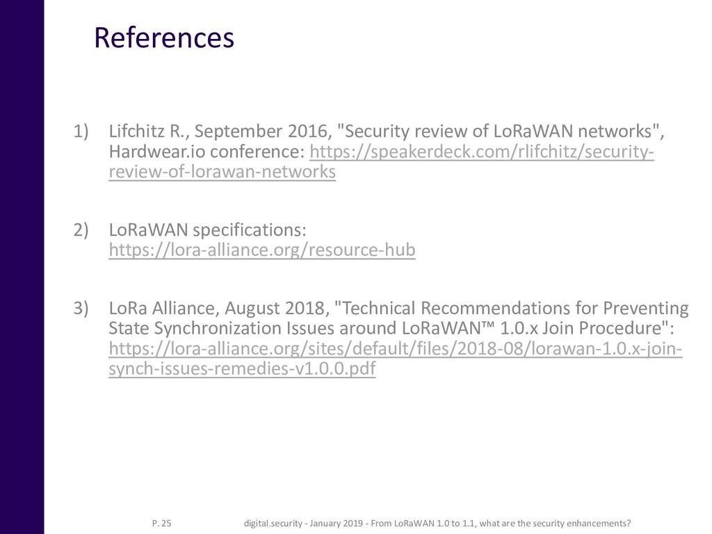 "References 1) Lifchitz R., September 2016, ""Sec..."