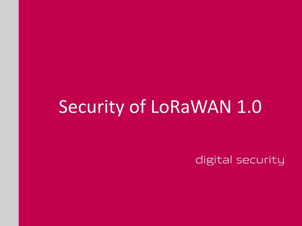 Security of LoRaWAN 1.0