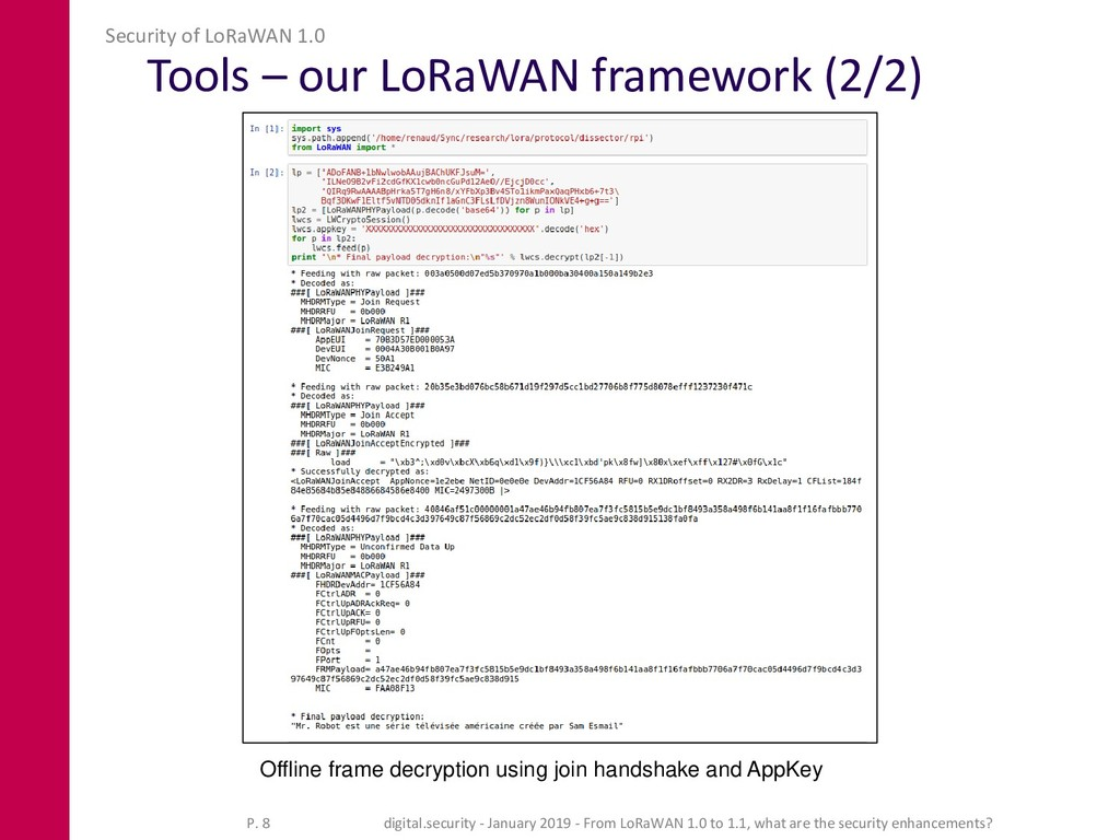 Tools – our LoRaWAN framework (2/2) Security of...