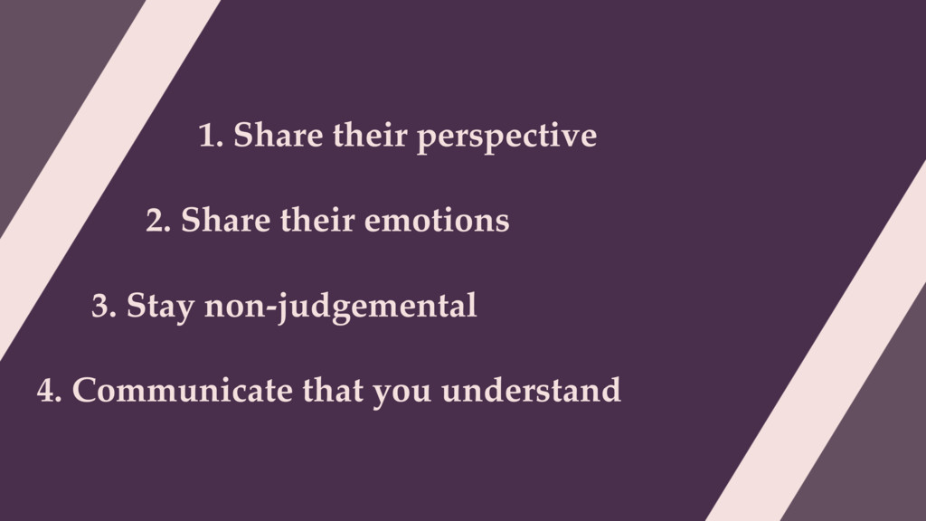 1. Share their perspective 2. Share their emoti...