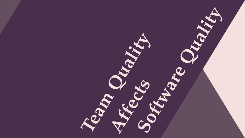 Team Quality Software Quality Affects