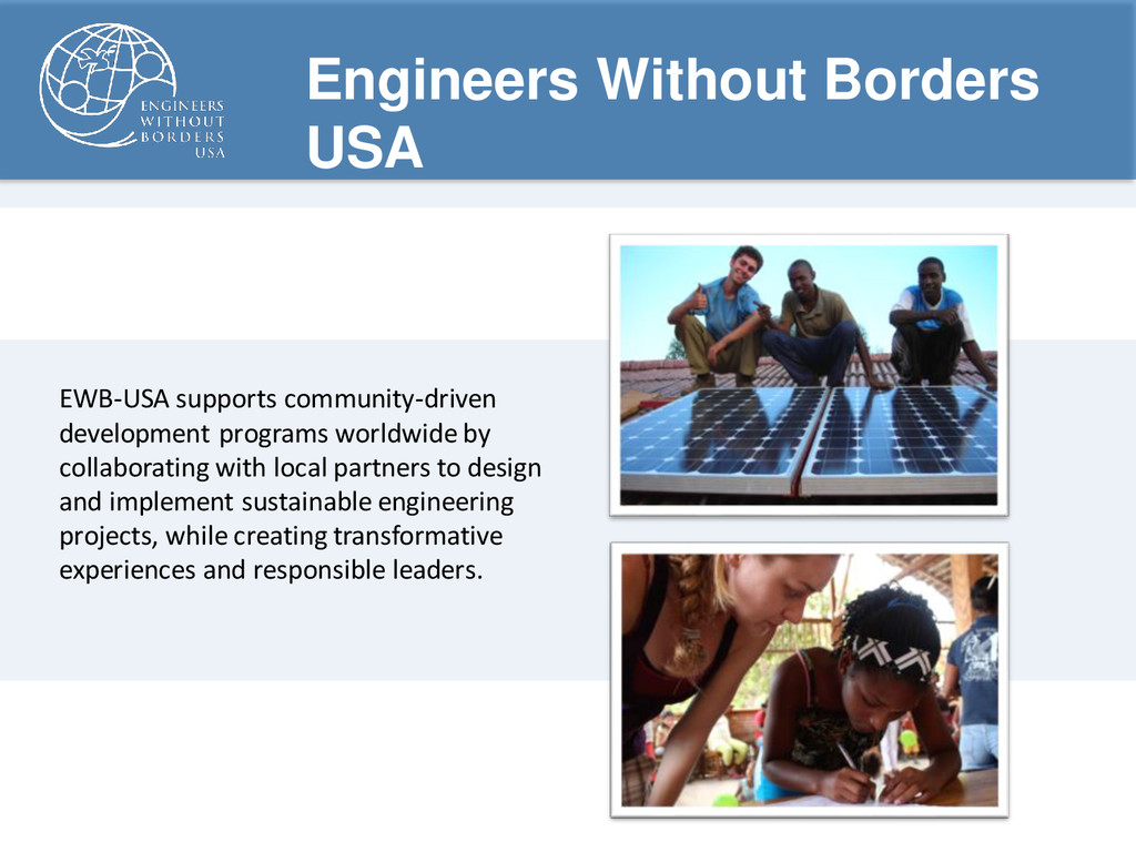 Engineers Without Borders USA EWB-USA supports ...