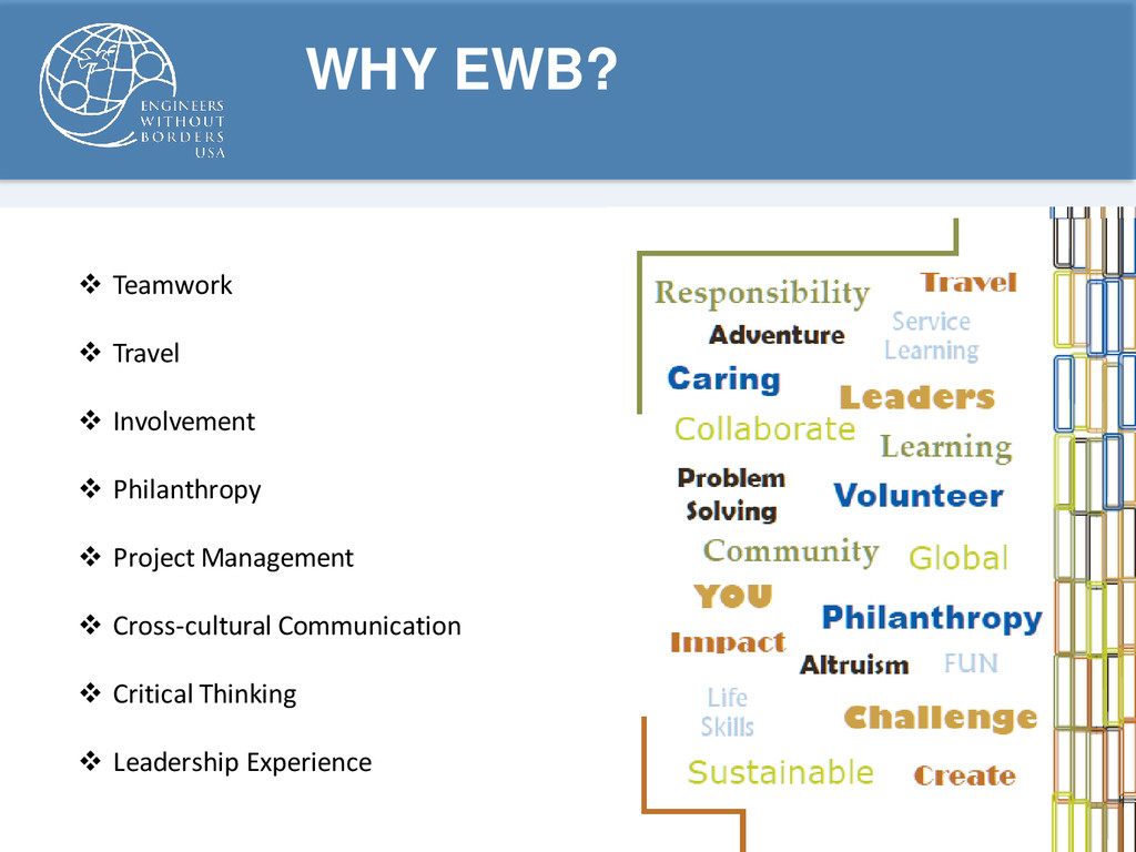 WHY EWB?  Teamwork  Travel  Involvement  Ph...