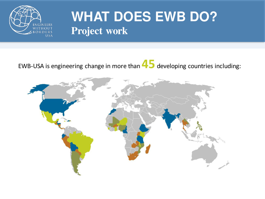 WHAT DOES EWB DO? Project work EWB-USA is engin...