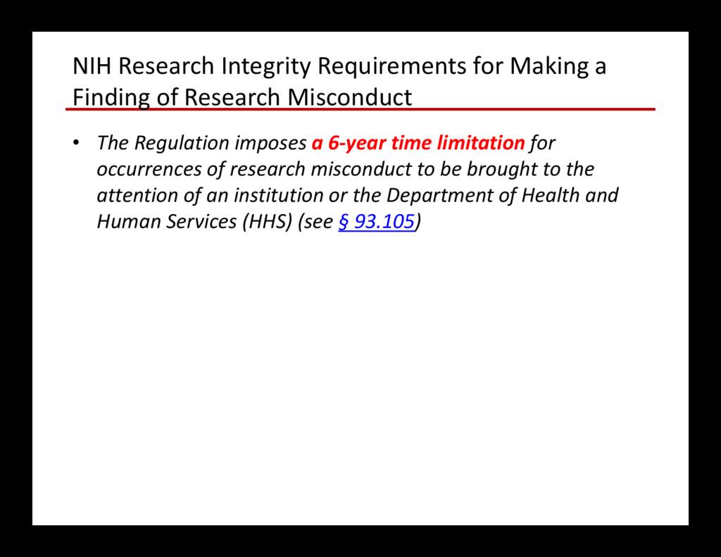NIH Research Integrity Requirements for Making ...