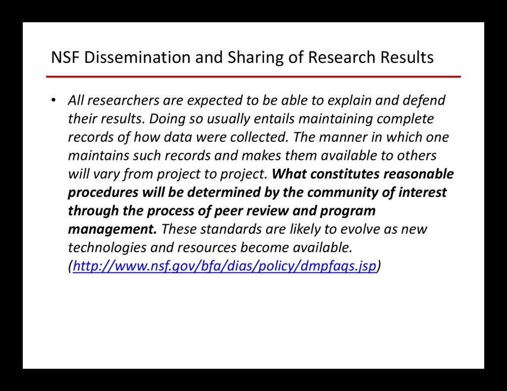 NSF Dissemination and Sharing of Research Resul...