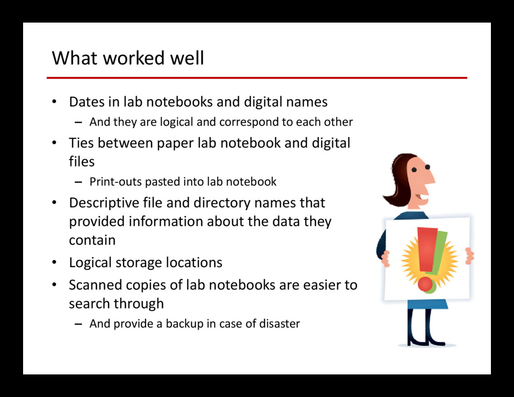 What worked well • Dates in lab notebooks and d...