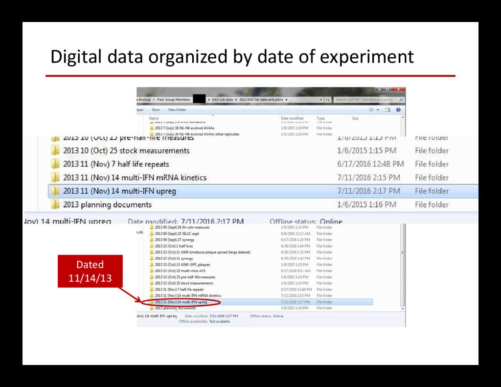 Digital data organized by date of experiment Da...
