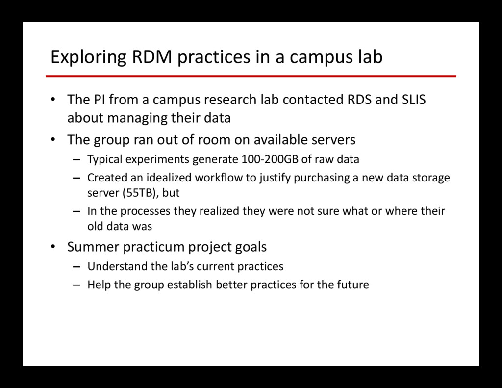 Exploring RDM practices in a campus lab • The P...
