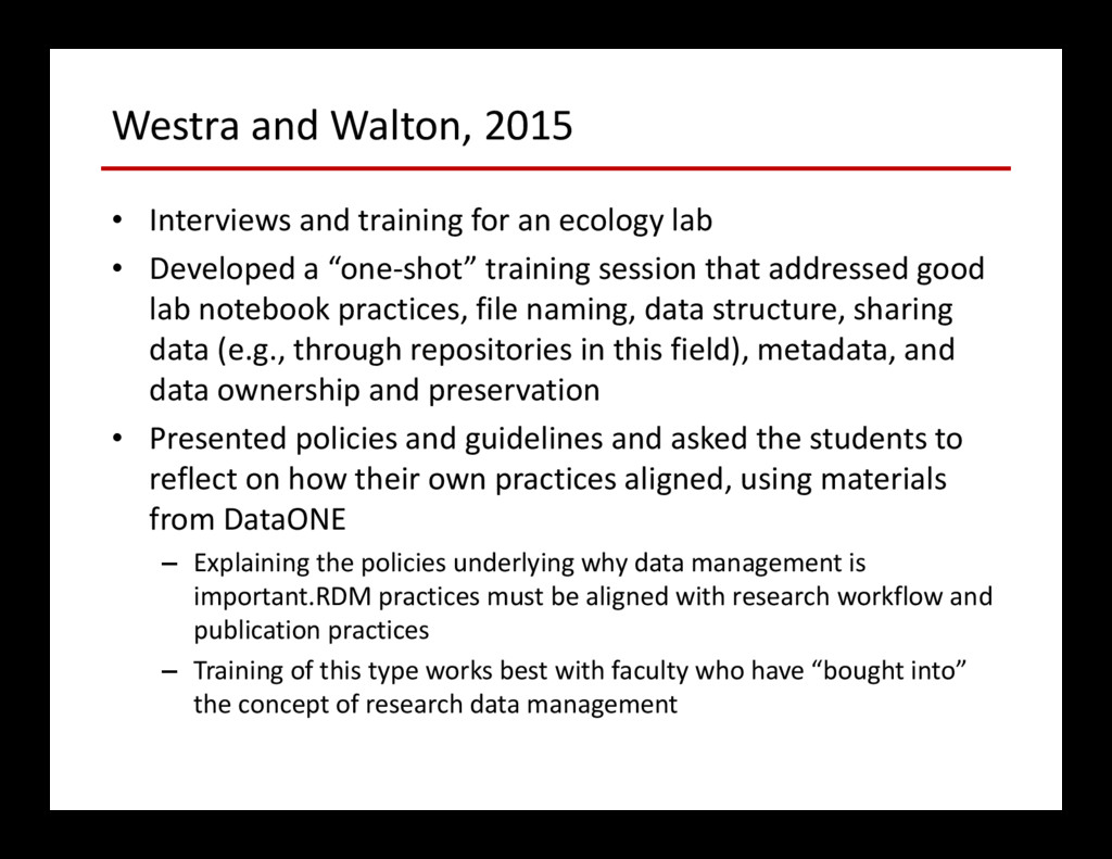 Westra and Walton, 2015 • Interviews and traini...