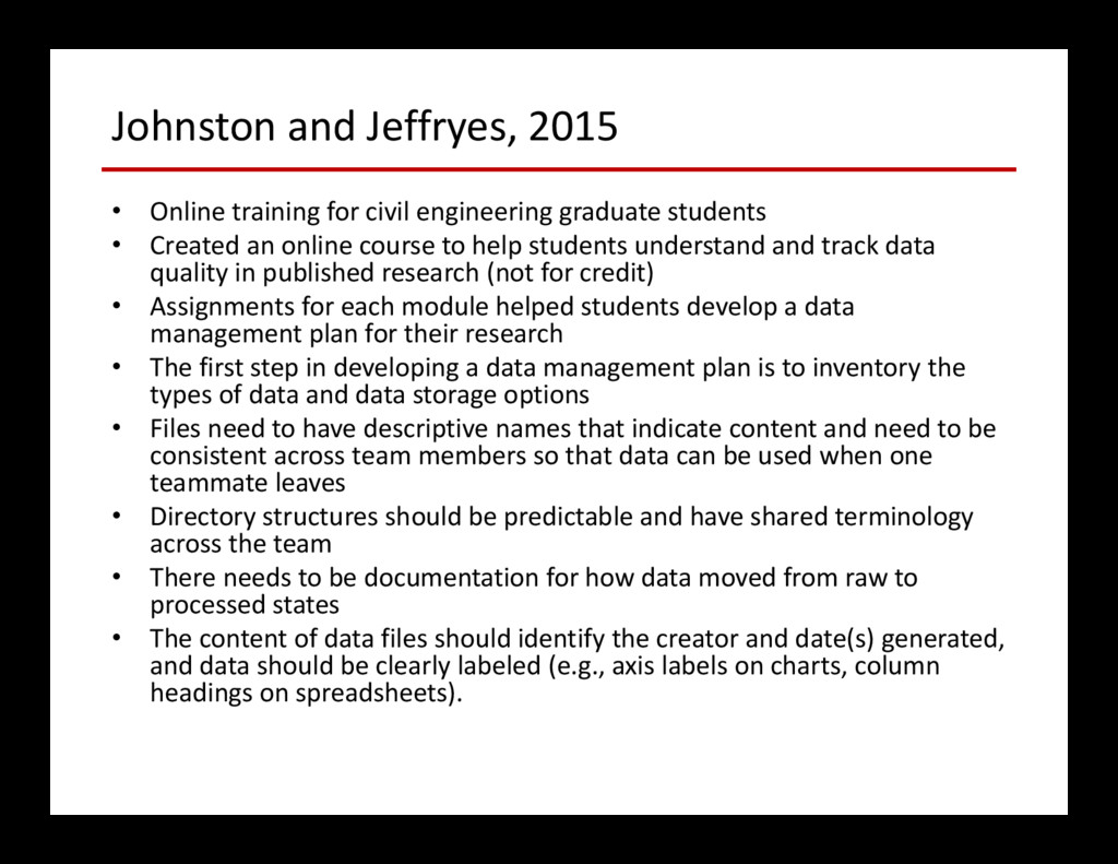 Johnston and Jeffryes, 2015 • Online training f...