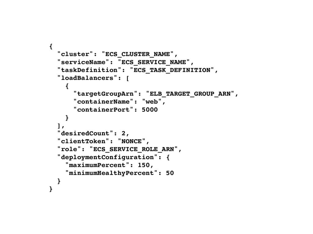 """{ """"cluster"""": """"ECS_CLUSTER_NAME"""", """"serviceName"""":..."""