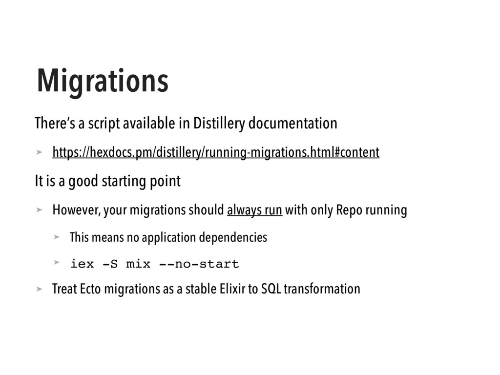 Migrations There's a script available in Distil...