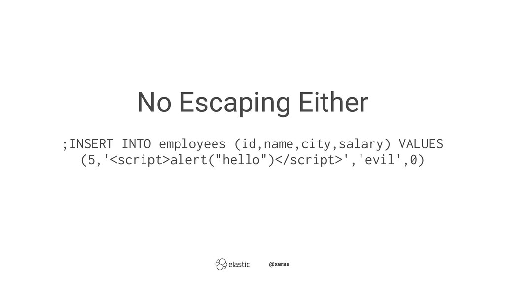 No Escaping Either ;INSERT INTO employees (id,n...