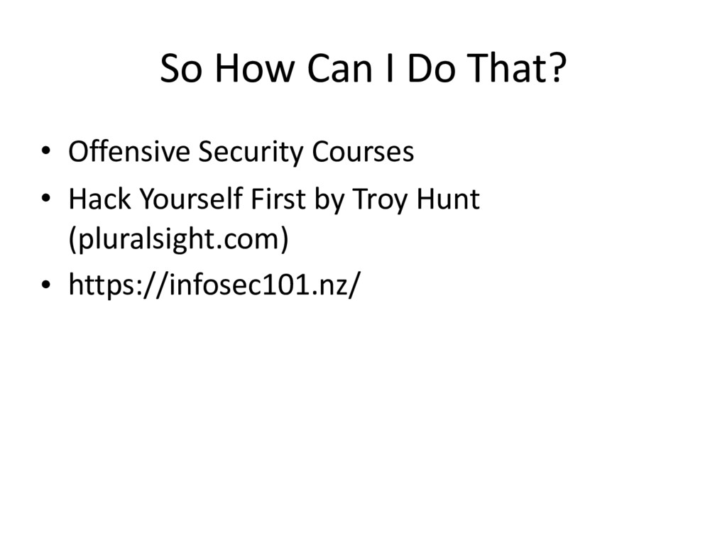 So How Can I Do That? • Offensive Security Cour...