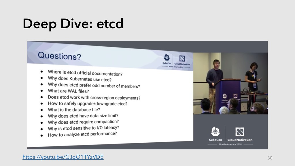 Deep Dive: etcd https://youtu.be/GJqO1TYzVDE 30