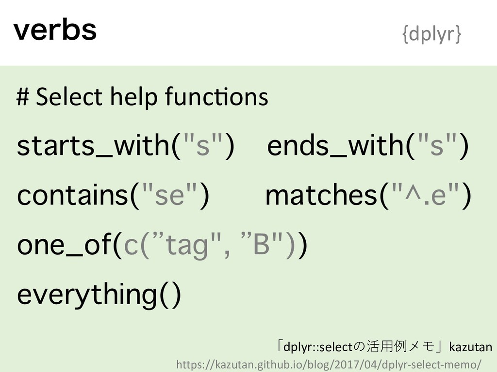 WFSCT {dplyr} # Select help func?ons starts_wit...