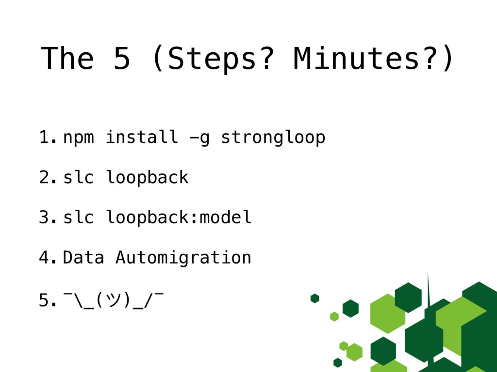The 5 (Steps? Minutes?) 1. npm install -g stron...