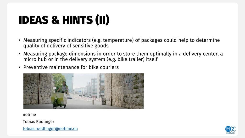 IDEAS & HINTS (II) • Measuring specific indicat...